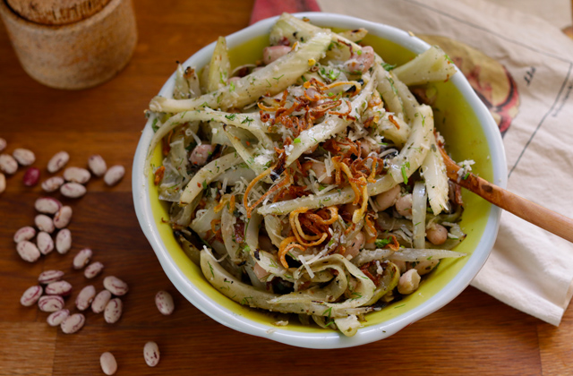 fennel bean and fried shallot salad