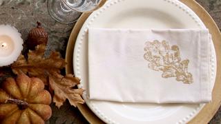 diy leaf print napkins